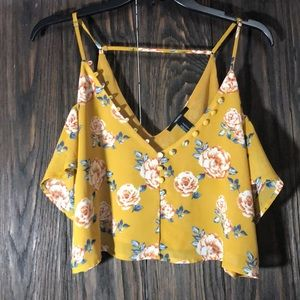 Mustard yellow crop top with flowers